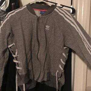 Unique adidas jacket with shoe lace sides